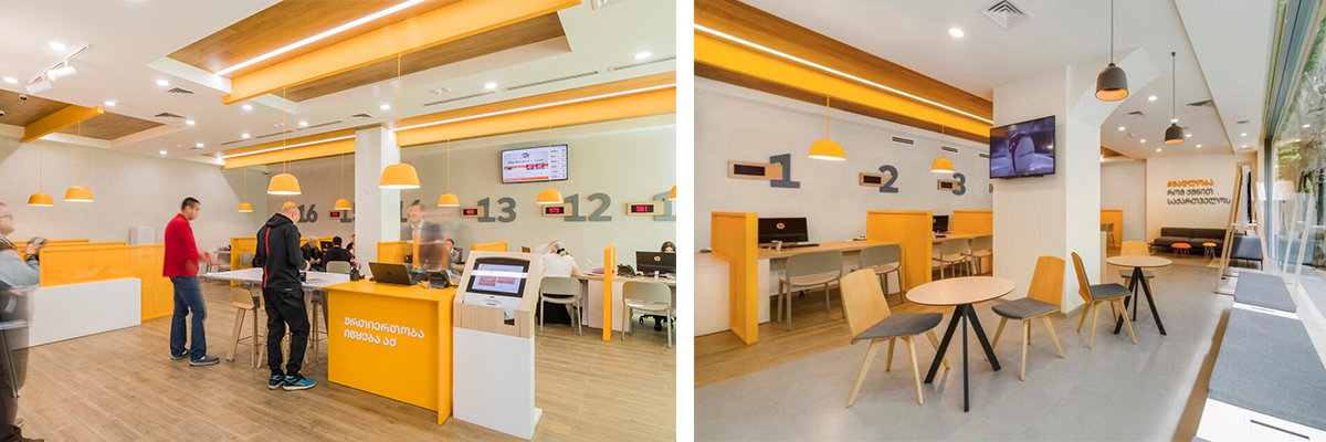 A Colorful And Smart Communication Offers The Chance To Talk About The Bank  Products: Brochures And Papers Are Hanged On The Walls, So That The Clients  Can ...